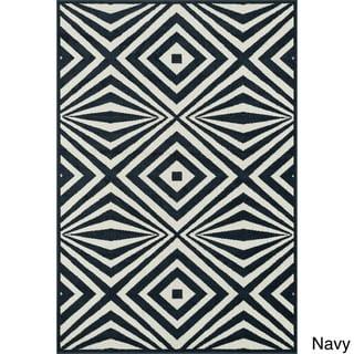 Indoor/ Outdoor Palm Diamond Rug - 92 x 121 (Navy/Ivory)