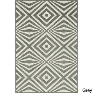 Indoor/ Outdoor Palm Diamond Rug - 92 x 121 (Grey/Ivory)