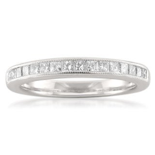 Montebello 14k White Gold 1/2ct TDW Princess-cut Diamond Milgrain Wedding Band