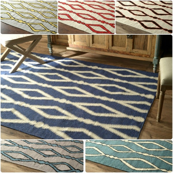 nuLOOM Flatwoven Trellis Wool Fancy Rug (5' x 8') - 5' x 8'
