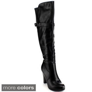 Blossom Women's 'Dove-4W' Buckle Strap Knee-high Boots