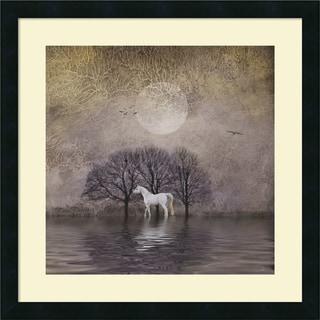 Framed Art Print 'White Horse in Pond' by Dawne Polis 22 x 22-inch