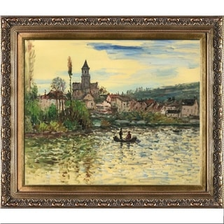 Claude Monet 'The Seine at Vetheuil' Hand-painted Framed Canvas Art