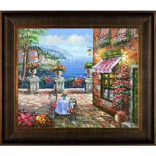 Hand-painted 'Cafe Italy' Framed Canvas Art