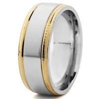 Men's Stainless Steel Two-tone Milgrain Band - White