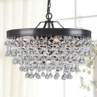 Claudia 5-light Antique Black Glass Drop Chandelier