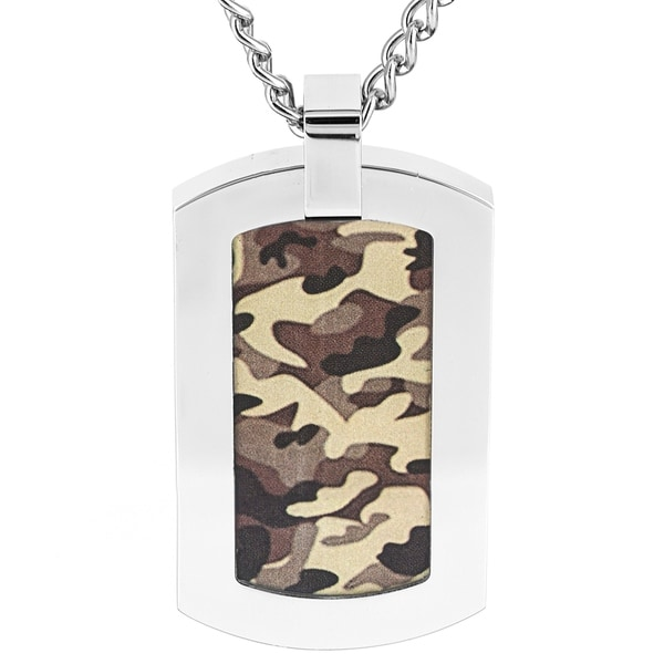 Crucible Stainless Steel Camouflage Dog Tag Pendant