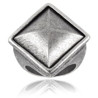 Crucible Antiqued Brass Diamond Shield 33mm Wide Cast Band - White