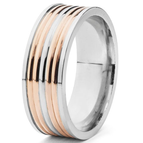 Men's Stainless Steel Two-tone Grooved Band Ring - White