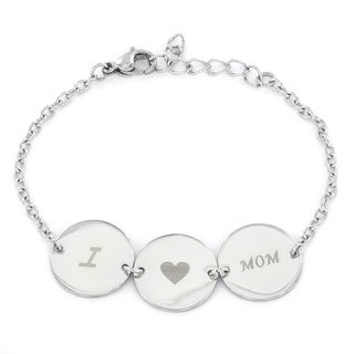 Stainess Steel 'I Love Mom' Disk Link Bracelet