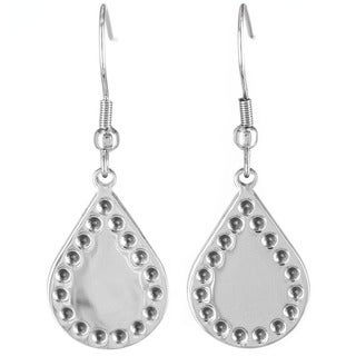 Stainless Steel Bohemian Stamped Teardrop Earrings