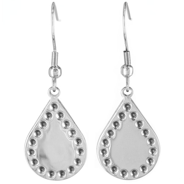 Stainless Steel Bohemian Stamped Teardrop Earrings