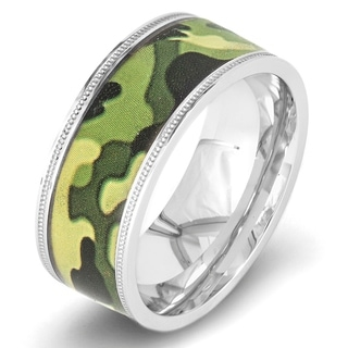 Crucible Polished Stainless Steel Camouflage Milgrain Flat Ring - 9mm Wide