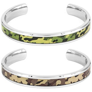 Stainless Steel Green or Brown Bangle Bracelet