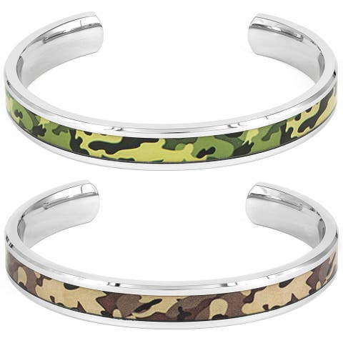 Stainless Steel Green or Brown Camouflage Bangle Bracelet