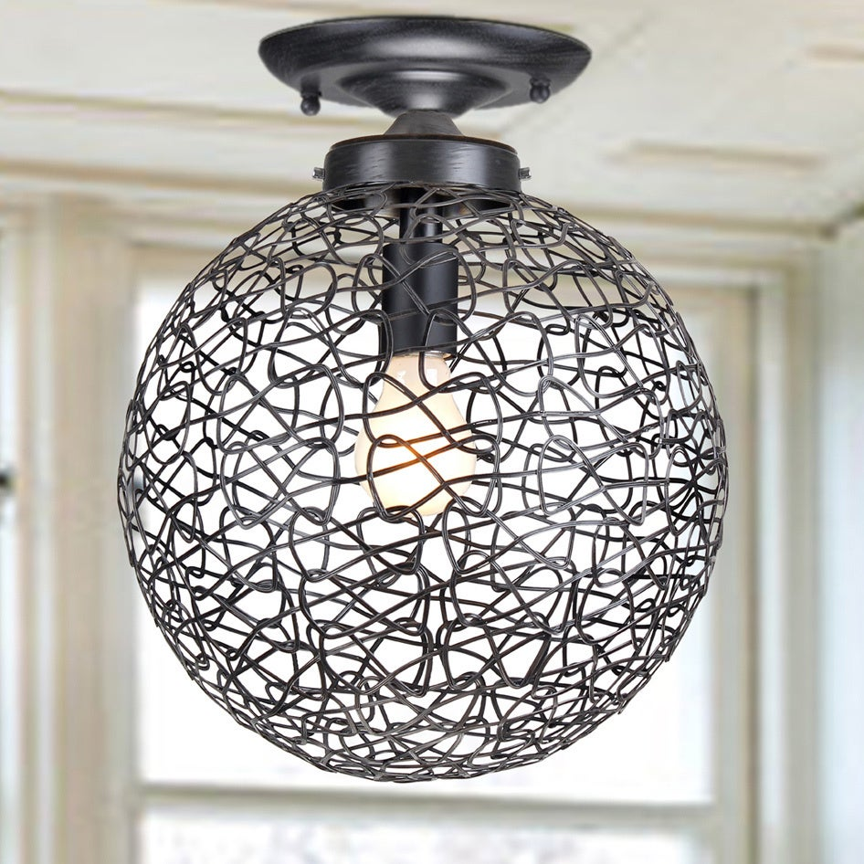 Bertha Antique Black Flush Mount Chandelier with Iron and...