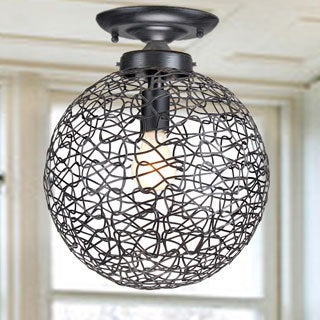 Bertha Antique Black Flush Mount Chandelier with Iron and Handicraft Shade