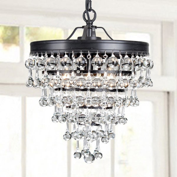 Claudia 3-light Crystal Glass Drop Chandelier in Antique Black Finish - Shop Claudia 3-light Crystal Glass Drop Chandelier In Antique Black
