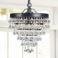 Claudia 3-light Crystal Glass Drop Chandelier in Antique Black Finish