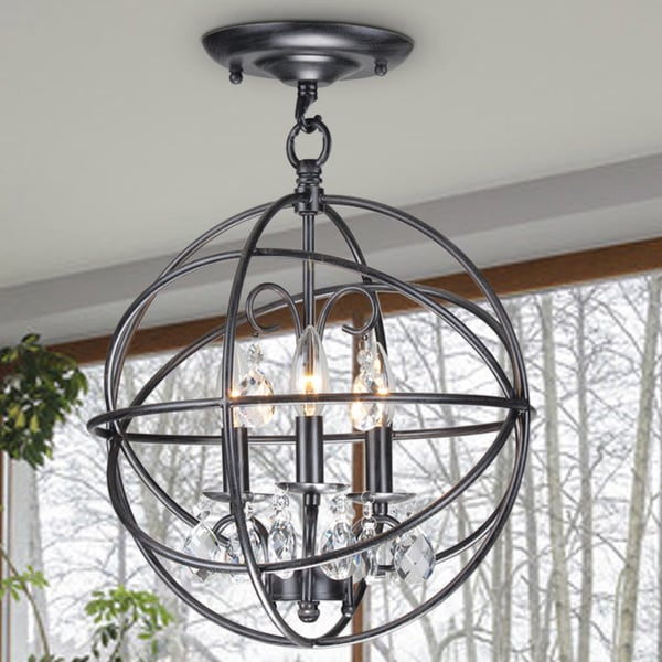 Benita 3light Antique Black Metal Globe Crystal Flush Mount – Globe Chandelier Light