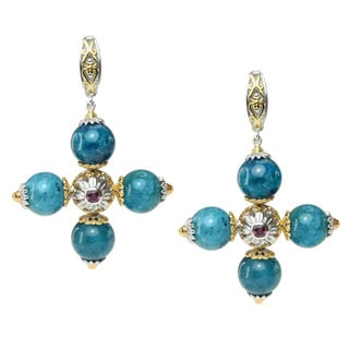 Michael Valitutti Two-tone Apatite and Rhodolite Earrings