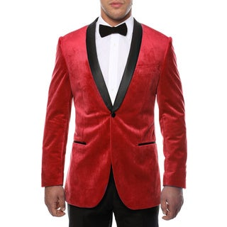 Ferrecci Men's ENZO Viscose and Polyester Velvet Slim-fit Shawl-collared Tuxedo Blazer