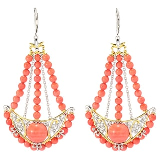 Michael Valitutti Two-tone Salmon Coral and Dark Orange Sapphire Earrings