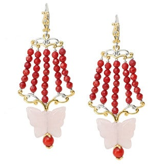 Michael Valitutti Two-tone Rose Quartz and Red Coral Earrings