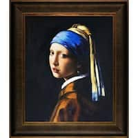 Johannes Vermeer 'Girl with Pearl Earring' Hand-painted Framed Canvas Art