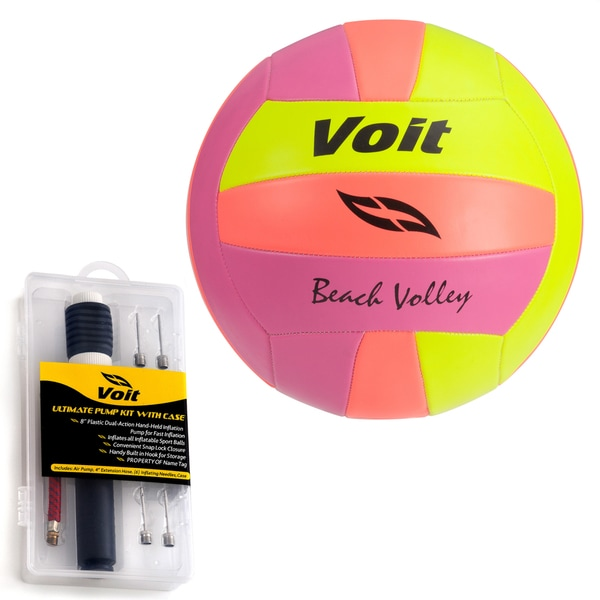 Voit Neon Volleyball with Ultimate Inflating Kit
