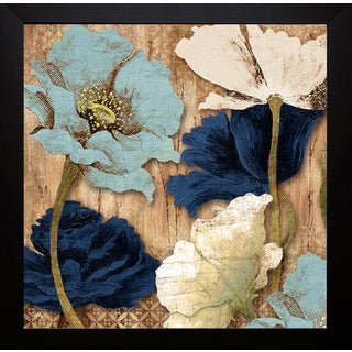 Elizabeth Medley 'Blue Joyful Poppies II' Framed Art Print