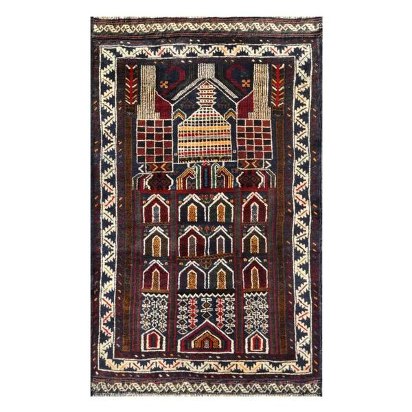 Herat Oriental Afghan Hand-knotted 1960s Semi-antique Tribal Balouchi Wool Rug (2'9 x 4'3)