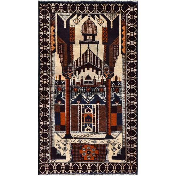 Herat Oriental Semi-antique Afghan Hand-knotted Tribal Balouchi Ivory/ Navy Wool Rug (2'8 x 4'7)