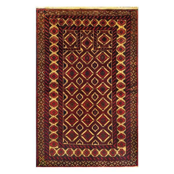 Herat Oriental Afghan Hand-knotted Tribal Balouchi Wool Rug (3' x 4'6) - 3' x 4'6