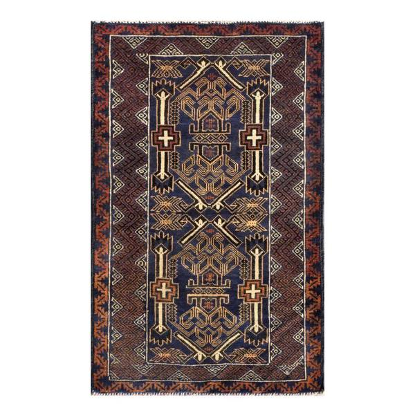 Herat Oriental Afghan Hand-knotted 1960s Semi-antique Tribal Balouchi Wool Rug (2'10 x 4'8)