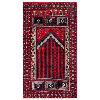 Herat Oriental Afghan Hand-knotted 1960s Semi-antique Tribal Balouchi Wool Rug (2'7 x 4'6)