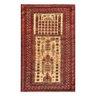 Herat Oriental Afghan Hand-knotted 1960s Semi-antique Tribal Balouchi Wool Rug (3' x 4'9)