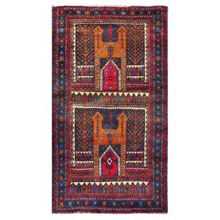 Herat Oriental Afghan Hand-knotted 1960s Semi-antique Tribal Balouchi Wool Rug (2'10 x 5')
