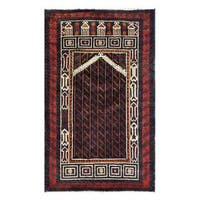 Herat Oriental Afghan Hand-knotted 1960s Semi-antique Tribal Balouchi Wool Rug (2'10 x 4'7) - 2'10 x 4'7