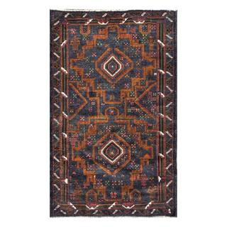 Herat Oriental Afghan Hand-knotted 1960s Semi-antique Tribal Balouchi Wool Rug (2'11 x 4'8)