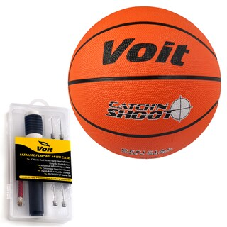 Voit Catch and Shoot Size 7 Rubber Basketball with Ultimate Inflating Kit