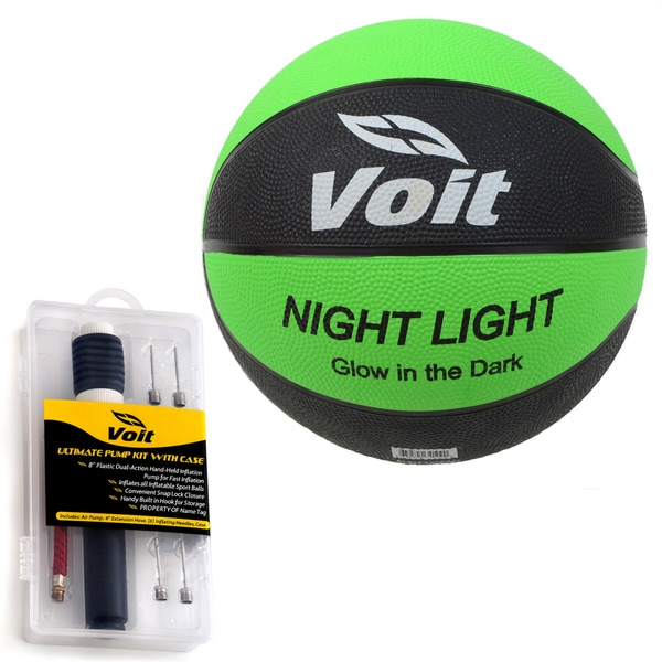 Voit Catch and Shoot Glow in the Dark Size 7 Rubber Basketball with Ultimate Inflating Kit