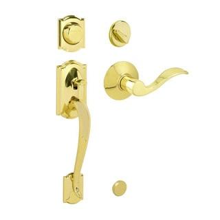 Schlage Camelot Bright Brass Dummy Handleset with Accent Interior Lever