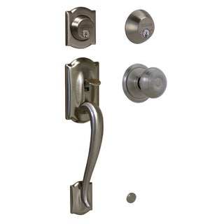 Schlage Camelot Antique Pewter Double Cylinder Handleset with Georgian Interior Knob