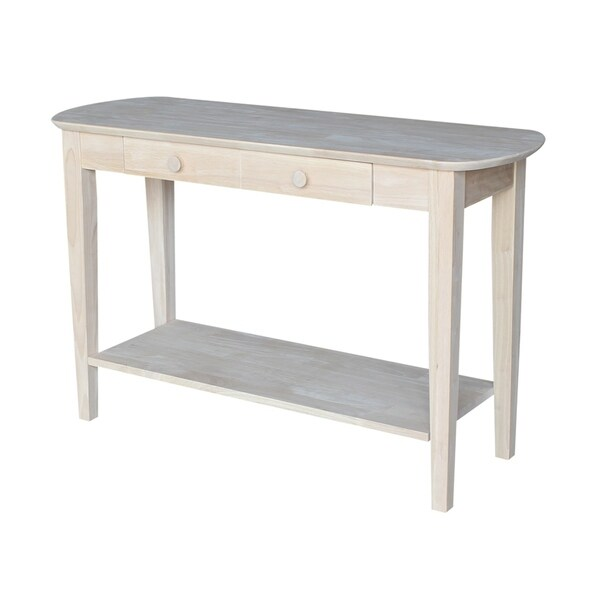Unfinished Solid Parawood Philips Oval Sofa Table