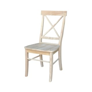 International Concepts Unfinished Solid Parawood X-back Dining Chairs (Set of 2)