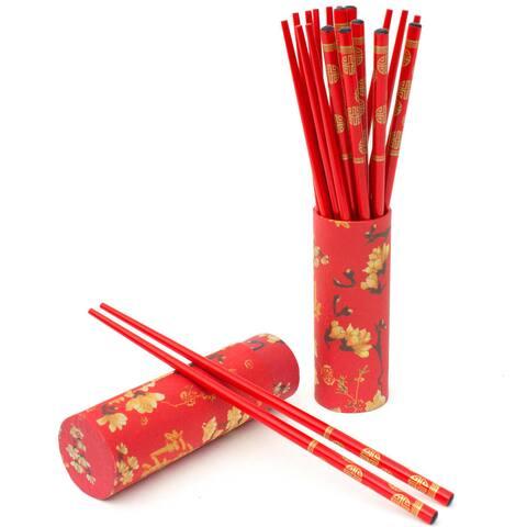 Handmade Set of 10 Red Wood Chopsticks Set (China)