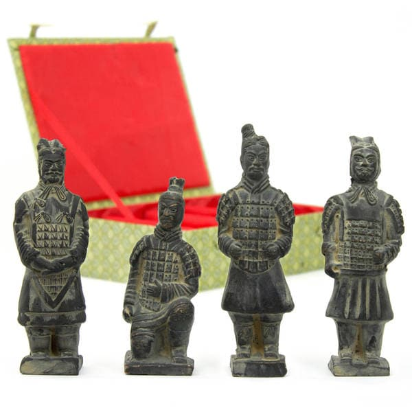 Handmade Set of 4 Terracotta Warrior Figurines (China)