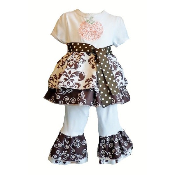 2be9172da6212 Shop Girls Boutique Style Pumpkin Ruffle Knit 2-piece Clothing Set - Free  Shipping On Orders Over $45 - Overstock - 9252654