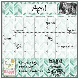 Herringbone Magnetic Dry Erase Monthly Calendar